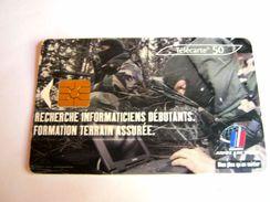 ANCIENNE TELECARTE CARTE TELEPHONIQUE FORMATION TERRAIN ASSURE ETAT EXCELLENT - Armée