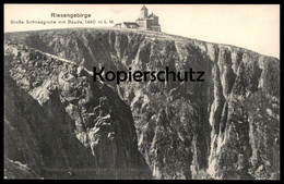 ALTE POSTKARTE RIESENGEBIRGE GROSSE SCHNEEGRUBE MIT BAUDE 1490 M Ü. M. Krummhübel Schlesien Schronisko Karpacz Cpa AK - Schlesien