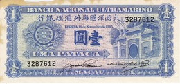 BILLETE DE MACAO DE 1 PATACA DEL AÑO 1945  (BANKNOTE) - Macao