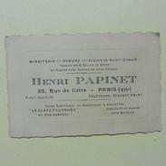 Carte De Visite :Miroiterie :Henri PAPINET Paris XII  En 1938 - Publicités