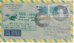 AMERIQUE DU SUD FRANCE  20°anniversaire De La 1° Liaison Aéropostale 1928/1948  17/03/48 - Airplanes