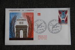 FDC - Cinquantenaire De L'Armistice Du 11 Novembre 1918 , Historique, Premier Jour D'Emission - FDC