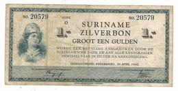 Suriname  Zilverbon , 1 Gulden 1942, Used. Rare. - Suriname