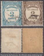 2Fr TAXE Bleu Et Sépia Oblitérés TB (Y&T N° 61 Et 62, Cote: +80€) - 1859-1955 Used