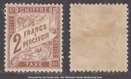 2Fr Duval Marron Neuf * TB Et Bien Centré (Y&T N° 26, Cote +325€) - Postage Due