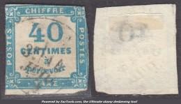 *RARE* 40c Taxe Carré BLEU Oblitéré (Y&T N° 7 , Cote : 700€) - 1859-1955 Used