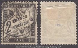 *RARETE* 2Fr Duval Noir Oblitéré Bien Centré ! (Y&T N° 23, Cote +900€) - 1859-1955 Used