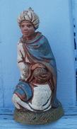 Roi Mage, Santon Crèche, Estampillé  LANDI 7.5 Cm - Sculptures