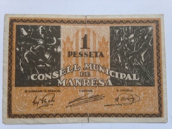 Billete 1 Peseta. Manresa. 1936-1939. República Española. Guerra Civil - [ 2] 1931-1936 : República