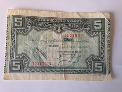 Billete 5 Pesetas. 1937. Bilbao. República Española. Guerra Civil. Sin Serie. Banco De Bilbao - [ 2] 1931-1936 : République