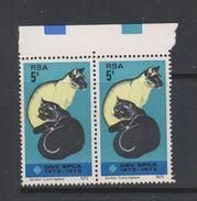 Yvert 337 ** Neuf Sans Charnière MNH En Paire Chat - Afrique Du Sud (1961-...)