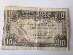 Billete 10 Pesetas. 1937. Bilbao. República Española. Guerra Civil. Sin Serie. Banco De Vizcaya - [ 2] 1931-1936 : République