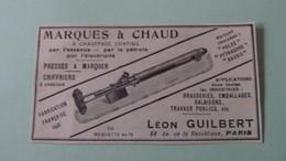 MARQUES à CHAUD - PRESSES A MARQUER - CHIFFRIERS - LEON GUILBERT - PARIS - FABRICATION FRANCAISE - PUBLICITE DE 1925. - Menus