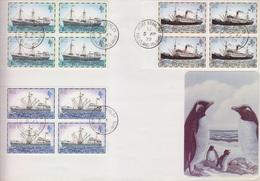 Falkland Island  Navires N° 254, 256, 258, 259, 263 Blocs De 4 Sur 2 Lettres De Port Stanley Du 5 AP 79 - Stamps