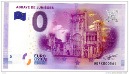 2016-1 BILLET TOURISTIQUE 0 EURO SOUVENIR N° UEFX000558 ABBAYE DE JUMIEGES - EURO