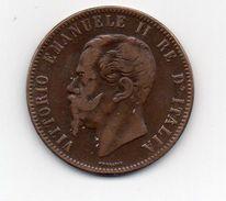 ITALY 1863 TEN CENTESIMI COPPER COIN NO MINT MARK USED In FAIR CONDITION. (HG96) - 1861-1946 : Kingdom