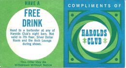 Harolds Club Casino - Reno, NV - Free Drink Coupon - Casino Cards