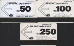 Autelca Phonecard,Black&White 2nd Series, Set Of 3, Used,issued In 1986 - Hong Kong