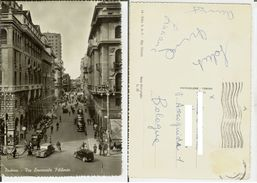 Padova: Via Emanuele Filiberto. Cartolina B/n Vg 19?? (animatissima, Auto Epoca) - Padova (Padua)
