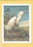 PUBLICITE--LA POSTE  1995---J.J. AUDUBON--aigrette Neigeuse--voir 2 Scans - Poste & Facteurs