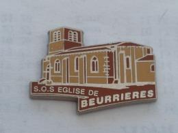 Pin's SOS EGLISE DE BEURRIERES, Signe BERAUDY - Pin