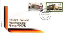 """(Gm3) BRD Schmuckumschlag """"Deutsch-deutsche Mischfrankatur Berlin/DDR"""" MiF BRD SSt 30.11.1990 BERLIN 17 - Briefe U. Dokumente"""