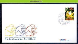 Ndv356+Afb E356+A FAUNA AAP APEN ZOOGDIER CHINESE LUNAR YEAR OF THE MONKEY MAMMALS AFFEN NEDERLANDSE ANTILLEN 2004 FDC's - Apen