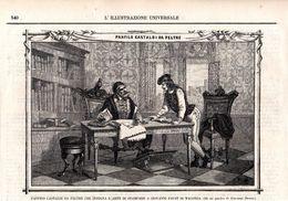 Panfilo Castaldi Da Feltre Che Insegna L´Arte Di Stampare A Giovanni Faust Di Magonza -- Original - Druck Aus 1865 - Alte Papiere
