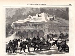 L´Ospizio Del San Gottardo Negli Ultimo Giorni Dello Scorso Marzo -- Original - Druck Aus 1865 - Alte Papiere
