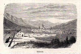 Bahnhof In Schwaz Mit Dampflok -- Original - Druck Aus 1865 Tirol Zug - Alte Papiere