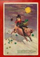 LATVIA CHRISTMAS CHIMNEY SWEEP PIG AND POEM VINTAGE POSTCARD 2214 - Other