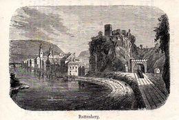 Rattenberg Tunnel Mit Dampflok  -- Original - Druck Aus 1865 Tirol Zug - Alte Papiere