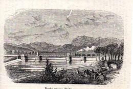 Brücke Bei Bichlwang Mit Dampflok -- Original - Druck Aus 1865 Tirol Zug - Alte Papiere