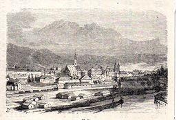 Hall Mit Bahnhof Und Dampflok  -- Original - Druck Aus 1865 Tirol Zug - Alte Papiere