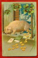 CHRISTMAS PIG AND COINS VINTAGE EMBOSSED POSTCARD 2547 - Other