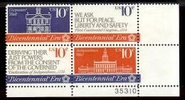 1974 - U.S. # 1543-1546 - Block Of 4 - Mint VF/NH - Unused Stamps
