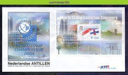 Ndv362Afb E362A VLAG BEACH MOUNTAINS FLAG CENTERS OF BUSINESS AND PLEASURE EXPO SINGAPORE NEDERLANDSE ANTILLEN 2004 FDC - Antillen