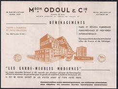 Maison Odoul - Les Garde - Meubles Modernes - Paris XIXè - Déménagements - Plan Du Métro Au Dos - - Advertising