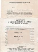 8 Mai 1870 - PLÉBISCITE - Manifeste Du Comité Départemental De L'Hérault - Pour Faire Réussir Le Plébicite - Documents Historiques