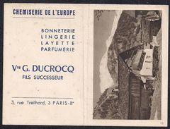 1961 - Chemiserie De L'Europe - Veuve G. Ducrocq Fils Successeur - Paris 8è - Calendriers