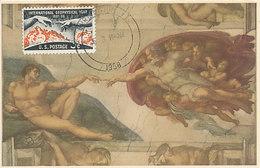 D30661 CARTE MAXIMUM CARD 1958 USA - CREATION OF ADAM MICHELANGELO CP ORIGINAL - Nudes