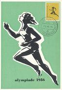 D30664 CARTE MAXIMUM CARD 1956 NETHERLANDS - ATHLETICS RUNNING OLYMPICS MELBOURNE CP ORIGINAL - Athletics