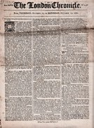 """""""The London Chronicle"""" Newspaper Dated  '11 - 15 October 1770'.  Contains A Post Office Article. - Old Paper"""
