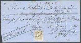 N°35 - 50 Centimes Gris Obl. Sc ANDENNE Sur Traite Du 22 Juin 1880 Pour La Somme De 106,58 Frs - 12012 - 1869-1883 Leopold II
