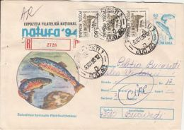 63244- TROUT, FISHES, REGISTERED COVER STATIONERY, 1995, ROMANIA - Vissen
