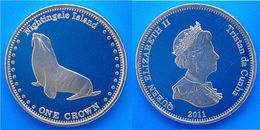 TRISTAN DA CUNHA 1 CROWN 2011 CU-NI PROOF WILDLIFE FOCA FDC - Coins