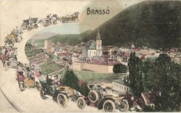 * T2/T3 Brassó, Kronstadt, Brasov; Látkép Automobilos Montázzsal / General View,... - Postcards