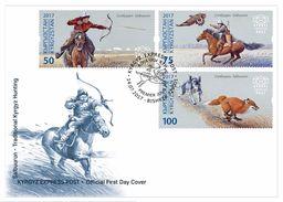 Kyrgyzstan 2017 Traditional Kyrgyz Hunting. Horses. Birds Of Prey. FDC** - Kyrgyzstan