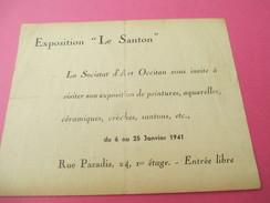 "Invitation / Exposition ""Le Santon"" / La Societat D'Art Occitan/Exposition De Peintures/Rue Paradis/ 1941          INV14 - Autres"