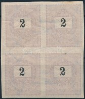 ** 1889 Feketeszámú 2kr Vágott 4-es Tömbben, Vízjel Torzulás - Stamps